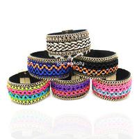 BR5311 Fashion Bohemia Women multi-layer knitted bracelets, handmade cuff bracelet,magnetic tube bar clasp bangles 5pcs/lot