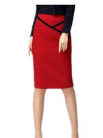 Free Shipping 2015 Spring Summer Split slim hip skirt, Formal Brand elastic Formal Ol step skirts S M L XL XXL   black/red