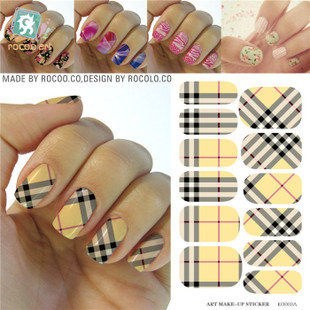 KG003A Water Transfer Nail Art Sticker Minx Manicure Decoration Styling Tools Nail Wraps Decals Plaid Design Nail Polish Sticker(China (Mainland))