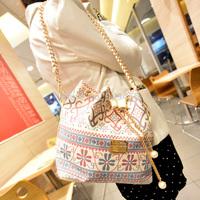 Beautiful Women Handbag Chain Women Bucket Bag Drawstring Flower Ladies Crossbody Messenger Bag Fashion Women Shoulder Satchels