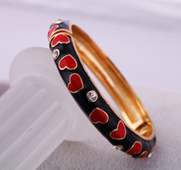 red heart black zircon bangle baroque pulseira pulsevas mujer bangle stunning decent fetching bracelet high fashion