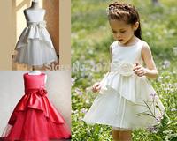0-12 Years Brand Baby Girls' White Red Princess Dresses Kids Girls Sleeveless Wedding Party Dress Vestidos Casual Free Shipping