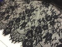 Black elegant fashion eyelash lace fabric, French lace, 150cm width 300cm/lot for pettiskirt dress, veil, blouse,tank top,tees