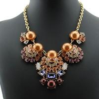 Vintage Necklace 2015 New Fashion  Brand  Women Pearl Pendant  Necklaces Statement Jewelry Accessories  DFX-765