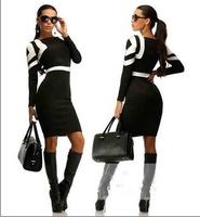 2015 new arrival Womens Celebrity Belted Elegant Vintage Pinup Long Sleeve Tunic Business Work Party Bodycon Pencil Dress