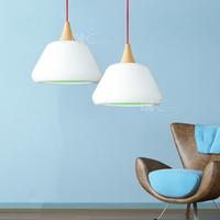 IKEA Scandinavian minimalist white lampshade chandelier Single Head Restaurant Cafe Bar wood chandelier