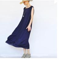 2015 fashion Original design womens sleeveless plus size ultra long dress loose linen dress solid color casual full length dress