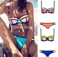 2015 Women Sexy Bikini With Rims Geometrice Bikini Women's Patchwork Triangle Beachwear Push up Swimwear
