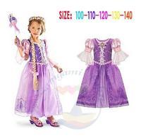 2015 New Girls Sofia Princess Cartoon Dresses Purple Children Brand Clothes Lace Party Dress Summer Kids Wear