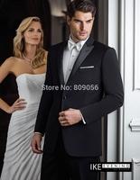 2015 Custom Black Groom Tuxedos terno noivo Groomsman One Button Wedding Suits for Men (Jacket+Pants+Tie) S214