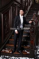 2015 New Arrival Long Black Groom Tuxedos terno noivo Groomsman Wedding Business Suits For Men (Jacket+Pants+Vest+Tie) S197