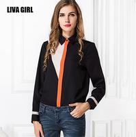 European 2015 summer women's casual shirt Stand Turn-down collar of mixed colors chiffon shirt roupas femininas Plus Size CS110