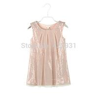 Shipment soon top grade 2015 Girls evening party dress princess dress sequined costume A-line sleeveless girls dress 2-10A