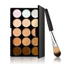 2015 New 15 Colors Contour Face Cream Makeup Concealer Palette Powder Brush E5M1(China (Mainland))
