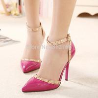 3Color Brand New Rivets Thin Heels Pumps Fashion Women High Heels Shoes Less Platform Wedding Party Shoes Big Size 40