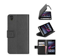 Hot selling Litchi-Texture PU Leather Mobile Phone Protective Case for Sony Xperia Z2 Cover 5.2 inch,with card slots,50pcs/lot