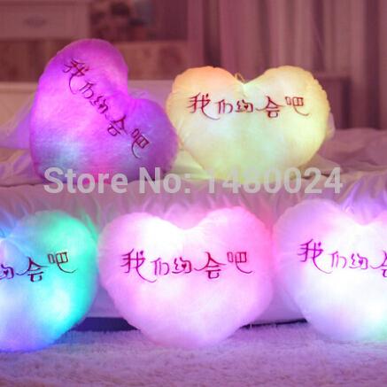 free shipping Battery powered decorative flashing light plush heart smiling heart music cushion pillow with music(China (Mainland))