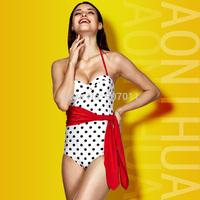 2015 new swimsuit piece steel prop Ms. gather bikini swimwear retro woman free shipping