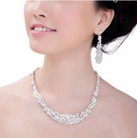 Stylish Austria Crystal Rhinestone Tassel Bridal Wedding Jewelry Statement Necklace Earring Set
