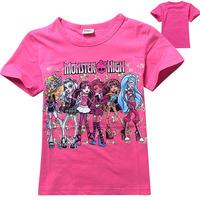"4-10Y Brand designer kids girls baby casual monster high"" clothes kids cartoon t-shirt for girl monster hight girls tops t shirt"