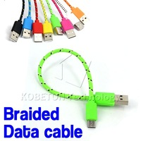 1pcs Newest 20cm Nylon Fabric V8 Micro USB Braided Sync Data Charge Cable Charger Adapter for HTC for Samsung for Nexus
