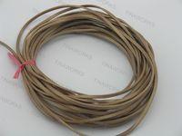 FREE SHIPPING 20Yds/2Pcs 3.0x2.0mm Metallic Khaki Flat Real Leather Jewelry Cord, each piece 10 yard