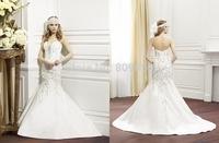 2015 Mermaid Taffeta Wedding Dresses Sweetheart Embroidery Zipper Sweep Train Bridal Gowns Women Skirt V019