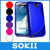 Sokii,S Line Wave Gel Case Cover For Samsung N7100 Galaxy Note II phone case+Screen Film
