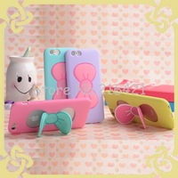 New Creative With Holder Bowknot TPU Case Stand For Apple iPhone 6/ iPhone 6 Plus Mobile Phone Cover Gel Case