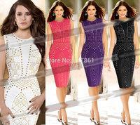2015 new arrival Womens Celebrity Elegant Vintage Business Work Party Bodycon Pencil Dress