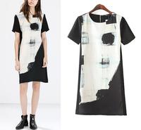Women Summer Dress 2015 Vestidos Short Sleeve Casual Dress Vintage Ladies' Elegant Black White Print Slim Brand Party Dresses