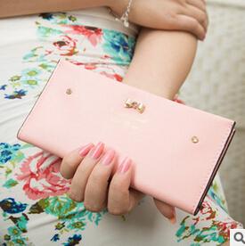2015 New Fashion Bow Diamond PU Leather Women Wallet Lady Long Slim Wallets Multifunction Change Purse Card Holder Clutch(China (Mainland))