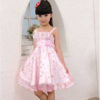 Promotion 2015 Elegant Lovely Girls Kids Dress Lace Strapless Floral Flower Bowknot Tulle Princess Party Dresses Fits 5-13Y
