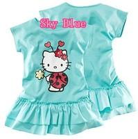 2015 Girl Contton Hello Kitty Dress Kids Kt Dress Girls' Summer Clothing Kids One-Piece Dress Free Shipping