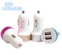 50pcs/lot High Quality Universal Dual USB Port 5V 3.1A usb car Charger for i phone ipod ipad, Smart Short Circuit Protection