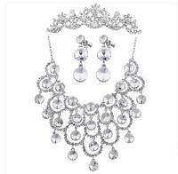 Luxury Silver Plated Bridal Tiara Combs Wedding Jewelry Rhinestone Crystal Tassel Choker Necklace Earring Set