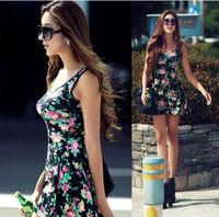 2015 summer floral printed women casual dress high waist slim sexy tank dresses plus size woman clothes vestidos femininos X-XL