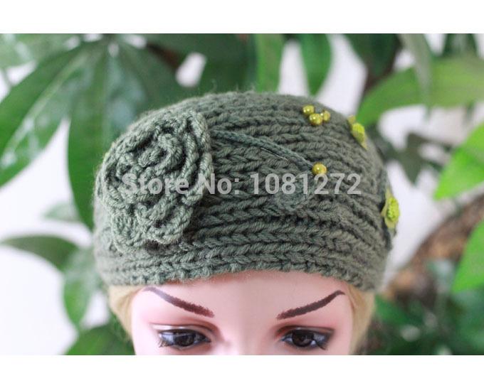 (6pieces/lot) Wholesale Green Flower Knit Headband, Turban Headband,Earwarmer headband pattern,Fall and winter hair accessory(China (Mainland))