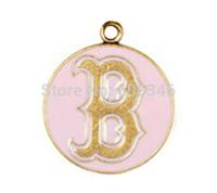 Sporty Pink Enameled Boston Bruins Hockey Team Logo Charms Rhodium Plated
