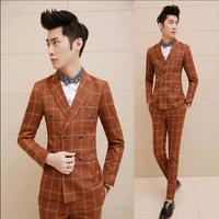 New 2015 Fashion Plaid Men'sTuxedo Slim Fit Custom Korean Suit Men Wedding Dress Suit 3 Piece Suits For Men With Vest Navy Gold
