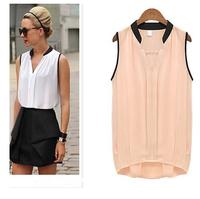 Women shirt Sleeveless patchwork Roupas Feminino Camisa Preto Rosa female Chiffon plus size shirt  tops maxi clothes LJ534XGJ
