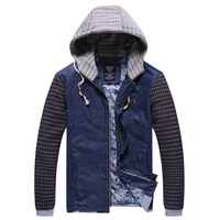 Korean Style Patchwork Design Man Fashion Jackets Size L-3XL Super Quality Brand New Hooded Collar Men Casual Slim Coats