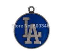 Wholesale Blue Enameled One Side Los Angeles Dodgers Baseball Team Logo Charms