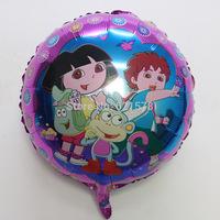 New arrival 50pcs/lot  18inch round dora balloon for birthday gifts  cartoon helium ballon Aluminium foil balloon
