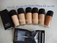 Free hkpost(1pcs/LOT)hot sale MC Makeup liquid foundation 6 color(nc15 nc20 nc25 nc30 nc35 nc40)studio fix foundation+free pump
