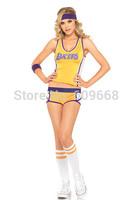 A set of 3 sexy women's lakers cheerleader yellow costume halloween costumes dancewear fancy dress top+shorts+ socks 1321