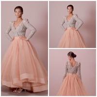 Elegant Long Sleeve Evening Dresses Women vestido de festa longo com pedraria Ball Gown Sequins Prom Dresses