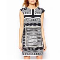 2015 New Design Women Ethnic Retro Dress Geometric Pattern Printed Dress Leisure Party Dress Vintage Dress GD0130