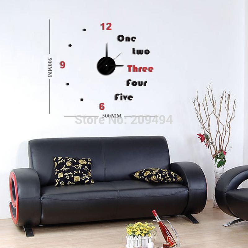 Free Shipping DIY Modern Fashion art Creative Wall Sticker Clock Paste EVA English numerals Decoration Clock(China (Mainland))