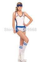 free shipping! sexy women's NY nicks sports player cheerleader romper and knee socks white dancewear 1322